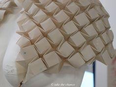 Fabric Manipulation - textured shrug w/ tessellating structure; 3D textiles; origami fashion detail // Kirsteen Colquhoun