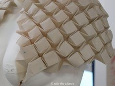 Fabric Manipulation - textured shrug w/ tessellating structure; 3D textiles; origami fashion detail // Kirsteen Colquhoun