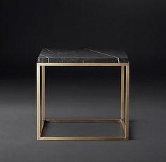Nicholas Marble Rectangular Collection - Black Marble & Burnished Brass | RH Modern