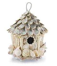 white sea shell birdhouse
