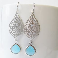 Ocean Blue Filigree Drop Earrings, Bridesmaids Earrings, Gold or Silver, pick your color - bridal discount available