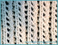 Single Lace Rib Dishcloth.: CO 41 sts. Knit an inch of garter sts border then start Single Lace Rib Pattern as follows; Row 1 (right side): K5 *yo, k2tog, p1, k1; rep from * to last 4 sts, k4.  Row 2 (wrong side): K4, p1, *yrn, p2tog, k1, p1 rep from * to last 4 sts, k4.  Repeat these 2 rows until you have about an inch less than desired length. Ending with 2nd row. Knit garter stitch border for an inch and then bind off all stitches. Cut yarn and weave all loose ends behind work