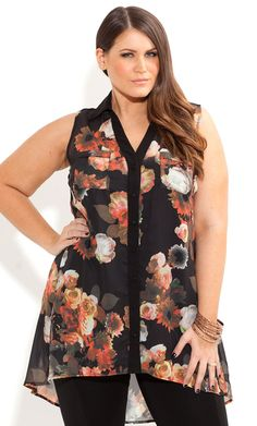 City Chic - RAINING ROSES SHIRT - Women's plus size fashion