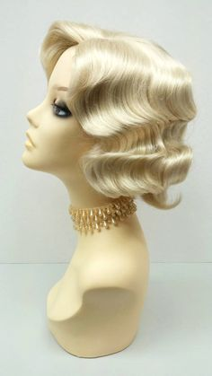 1920's Style Short Blonde Finger Wave Wig. by ParamountWigs