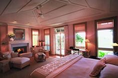 The Lodge at Kauri Cliffs, Matauri Bay, New Zealand - Cottage bedroom New Zealand Accommodation, Luxury Accommodation, Luxury Lodges, Best Resorts, Hotels And Resorts, Cliff Hotel, North Island New Zealand, Bedroom With Sitting Area, Le Cap