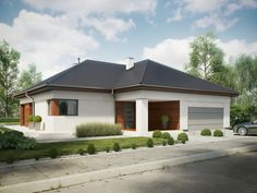 Projekt domu SD BALOS A - DOM SD1-90 - gotowy projekt domu Building Design, Building A House, One Story Homes, Story House, Exterior Colors, Gazebo, House Plans, Sweet Home, Shed