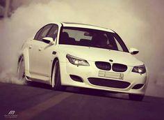 BMW E60 M5 white smoke show