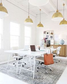 office decor, white office decor, bright office, gold lights, macbook, neat office, organized office, beautiful office space, workspace, the blog bar, blogging, bloggers, blog