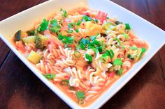 Miso Ginger Broth & Noodles - The Aloha Files. This spicy, brothy, noodley dish requires three pans (I know, I'm sorry!), but its worth the little extra clean up. Cooking the broth, veggies, and noodles separate allows you to combine them to your consistency at the end without the noodles absorbing too much of the broth or the veggies becoming too soft. Its not quite a soup, and not quite a stew. A little chopping, a little simmering, and a lot of deliciousness at the end! #vegan
