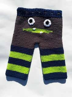 Pattern not free, but finally found thes in a crochet pattern. All I see them in are knitting patterns.    Ravelry: Monster Pants pattern by Serena Russell