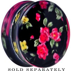 26mm Acrylic Black Multicolored Old Fashioned Flowers Saddle Plug | Body Candy Body Jewelry #bodycandy