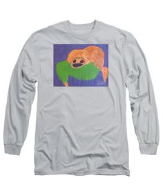 Patrick Francis Designer Long Sleeve Silver T-Shirt featuring the painting Otter by Patrick Francis