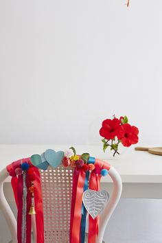 Dress up a Valentine's Day chair.