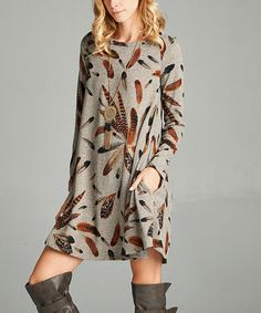 Look at this #zulilyfind! Mocha Feather Print Pocket Dress by Love, Kuza #zulilyfinds
