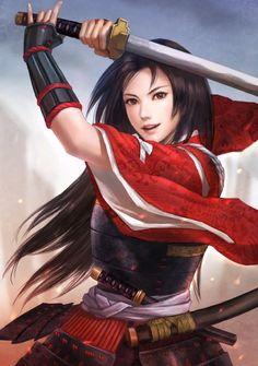 samurai and geisha drawing Female Character Design, Character Concept, Character Art, Warrior Girl, Samurai Warrior, Female Samurai Art, Fantasy Samurai, Fantasy Women, Fantasy Girl