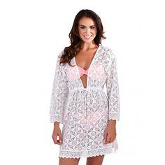 South Beach Boutique White Cotton Crochet Kaftan