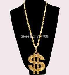 New 2014 Men Hip Hop Gothic18K Gold Long US Dollar Pendant Necklace Chain Accessories $ Necklaces Pendants for Women Men Jewelry