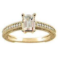 Yellow Gold Emerald Cut Morganite Diamond Engagement Ring - An antique style milgrain designed piece makes a classic in it's own right with this pretty Yellow Gold Emerald Cut Morganite Diamond Engagement Ring placed within a Prong setting featuring an Emerald cut Morganite center stone along with White Round cut accent stones around the shank. The Yellow Gold Emerald Cut Morganite Diamond Engagement Ring has a gem weight of 1.80 carats. The diamonds are 100% natural. #unusualengagementrings