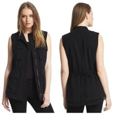 NWT Kenneth Cole Chiffon Anorak Vest Brand new black chiffon Anorak vest by Kenneth Cole. Utility style pockets on the front, drawstring at the waist, full front zipper. In perfect condition, never worn w/ tags. Kenneth Cole Tops Tunics