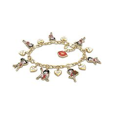 Betty Boop Charm Bracelet with Crystals and 15 Charms ($129) ❤ liked on Polyvore featuring jewelry, bracelets, heart charm, 18k bangle, engraved jewelry, red bangles and heart jewelry