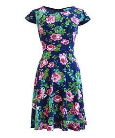 Look at this #zulilyfind! Navy Floral Guinevere Fit & Flare Dress #zulilyfinds
