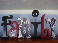 Family Letters Wood Letters Custom Letters Black by thepatternbag, $74.99