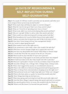 30 Day Journal Prompt for Regrounding and Self-Reflection During Self-Quarantine - Brittney Moses Daily Journal Prompts, Journal Challenge, Journal Entries, Anxiety Relief, Stress Relief, Journal Questions, Therapy Journal, Reflection Questions