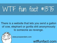 #1375 - There is a website that lets you send a gallon of cow, elephant, or gorilla shit anonymously to someone as revenge