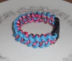 PARACORD BRACELET Pink Camouflage & Aqua Blue - *Survival Gear - *550 Paracord - *Survival Bracelet - *Paracord Accessories - *Paracord Gear
