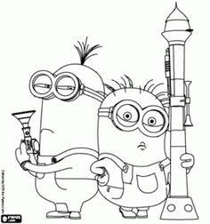 Two minions armed from the movie Despicable Me 2 coloring page