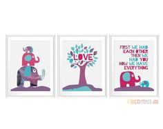 "Nursery art prints  ""First we had each other, then we had you, now we have everything"" Set of 3 11X14"