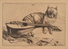 Robert Sargent Austin (British 1895-1973) Cat and Mandolin Etching with drypoint, signed in Cute Cat Drawing, Cute Drawings, I Love Cats, Cute Cats, Cat Stands, Cats Musical, National Gallery Of Art, Antique Illustration, Here Kitty Kitty