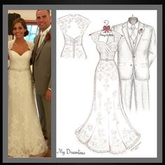 Dreamlines wedding dress sketch given as a wedding day gift to the bride, wedding gift, bridal shower gift, Christmas gift and one year paper anniversary gift. Wedding gift from groom to bride, bride gift, gift from groom, gift from groom to bride, wedding day gift, wedding day gift for bride, wedding day gift from groom.www.MyDreamlines.com Wedding Dress Sketch with suit, bouquet and frame. #weddingdresssketch