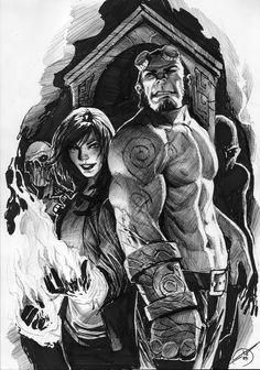 Liz Sherman & Hellboy by Stjepan Sejic. Drawn in ballpoint. Outstanding!