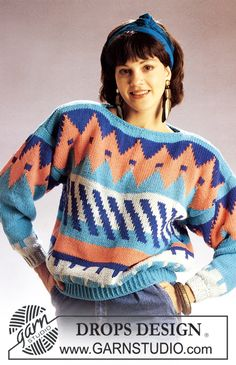 """DROPS jumper with pattern borders in """"Paris"""". Sweater Knitting Patterns, Free Knitting, Crochet Patterns, Knit Sweaters, Drops Design, Yarn Crafts, Free Pattern, Knit Crochet, Clothes For Women"""