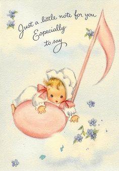 (๑˙❥˙๑)                                                                    ✄Vintage baby card