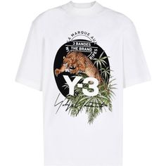 Y-3 Leopard Tee ($130) ❤ liked on Polyvore featuring men's fashion, men's clothing, men's shirts, men's t-shirts, white, mens lightweight shirts, mens graphic t shirts, mens ribbed t shirt, men's white crew neck t shirts and mens leopard print t shirt
