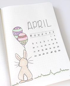 Cute April Bullet Journal Page