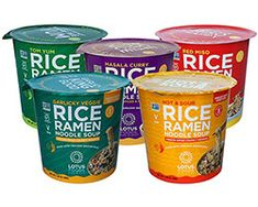 Lotus Foods | The Complete Rice Ramen Noodle Soup Cup Variety Pack | The Complete Rice Ramen Noodle Soup Cup Variety Pack Description: Get a taste of our entire range of Rice Ramen Soup Cups with this variety pack! These new rice ramen noodle soup cups cook and are ready-to-eat in just 3 minutes with hot water. Our commitment to wholesome and simply made products means the ingredient list contains just organic whole grain brown rice noodles along with spices and veggies. Never any artificial fla Curry Ramen, Ramen Noodle Soup, Ramen Noodles, Kimchi Rice, Whole Grain Brown Rice, Red Miso, Masala Curry, Hot Soup, Cooking Instructions