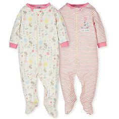 b3cd576c7735e Gerber® Preemie 2-Pack Organic Cotton Floral Footies in Pink Organic Baby