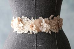 Ivory and Champagne Wedding Sash Bridal Belt Accented with beaded Lace and Pearl Flowers