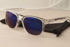 Retro Clear frame 80's Sunglasses with Mirrored lenses wayfarer style.  $12.00 via etsy.com.  Great deal!