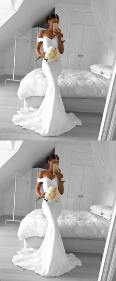 Custom Made White Mermaid Prom Dress,Off the Shoulder Evening Dress,Lace Party Dress