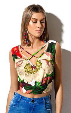 Blusa Floral Decote Tiras Morena Rosa