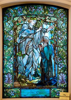The Annunciation Tiffany glass window, lower level, Arlington Street Church, Boston.