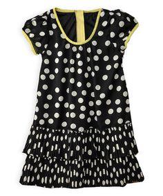 Look what I found on #zulily! Black Polka Dot Pleated Dress - Girls #zulilyfinds