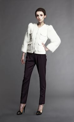 Shearling Sleeve Tweed Jacket in white - I cant wait to see Olivia Pope wear this one on SCanDal .....Gladiator wear at its best