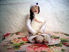 Contemporary folk art DREAM  doll by AgoVintage on Etsy, $40.00