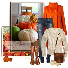 Orange is the new black! Turning over a new leaf for this outfit: jeans, white sweater, tall boots, and Orange coat!