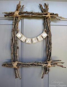 Fall Twig Wreath. The frame can keep but the message can change with the seasons too.